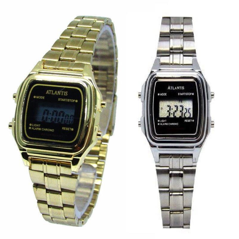 b75e0c0c7dd relógio retrô vintage aço dourado digital prata promoção. Carregando zoom.