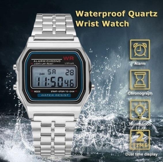 0dd292465c9 Relógio Retro Led Digital Alarme Wr Aço Prata - R  25