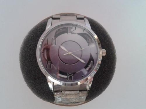 relógio roda orbital - pulseira cromada