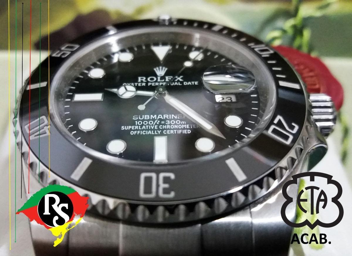 c1d8e5ece14 relogio rolex acab eta submariner safira preto v7 top lxrs. Carregando zoom.