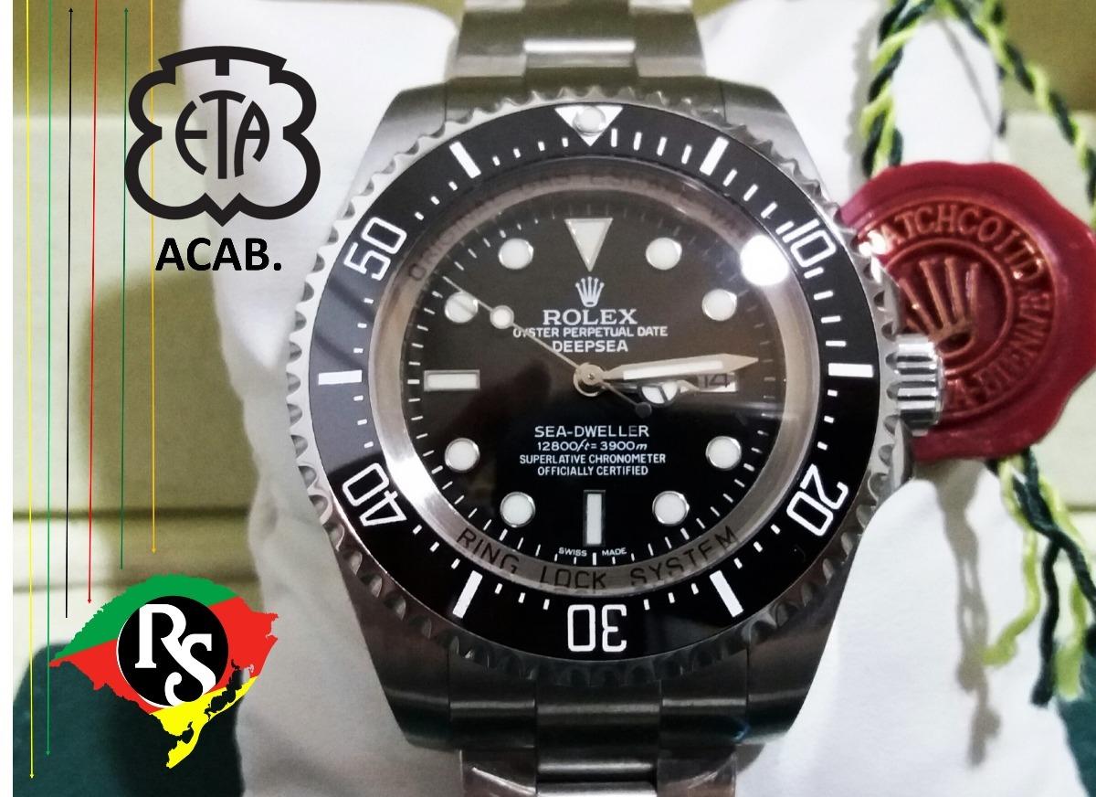4465b032a49 relogio rolex acab eta top deepsea preto v7 ceramica lxrs. Carregando zoom.