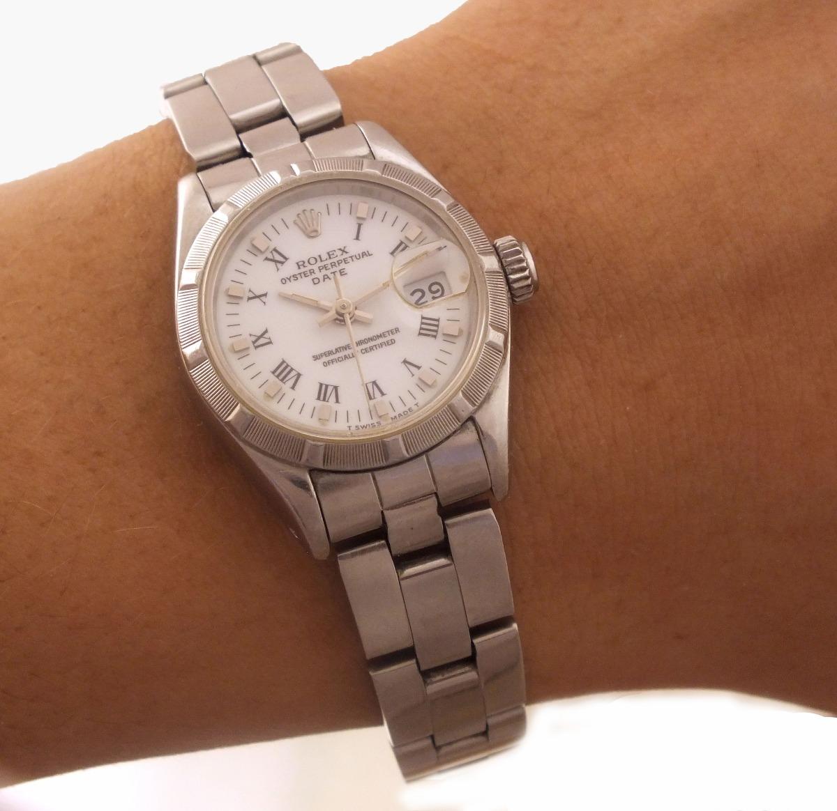 19e3bb9f17e relógio rolex calendário aço original feminino safira j10849. Carregando  zoom.