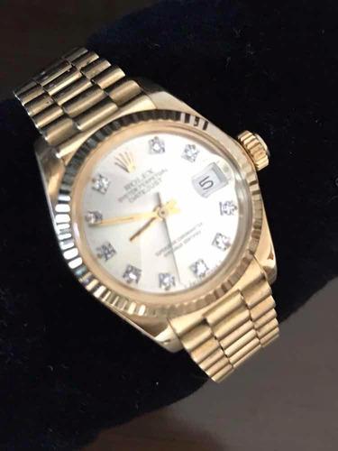 relógio rolex date just ladies ouro 18k e brilhantes