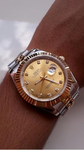 60c521fdf2c Relogio Rolex Datejust Dourado Prata Grande Fundo Dourado - R  325 ...