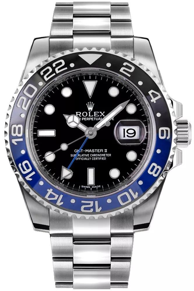 03661eaaa22 relógio rolex gmt - master 2 azul com preto e pulseira prata. Carregando  zoom.