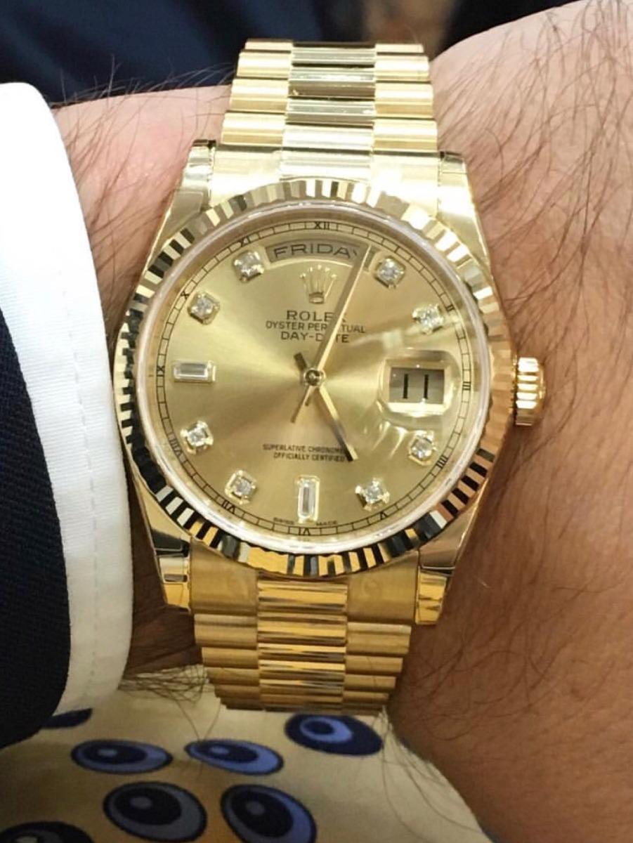 7a0d5182ac0 relógio rolex president dourado feminino   masculino. Carregando zoom.