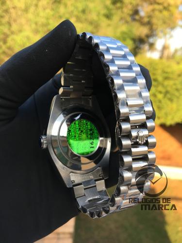 relógio rolex presidente daydate prata automático