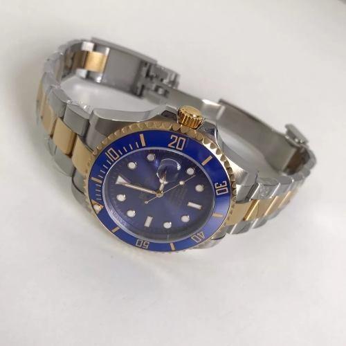 01cb7abc69a Relogio Rolex Submariner Misto Prata dourado Aro Azul. - R  478