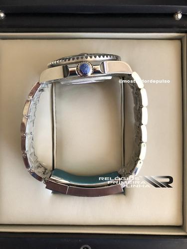 relógio rolex submariner prata e preto com data automático