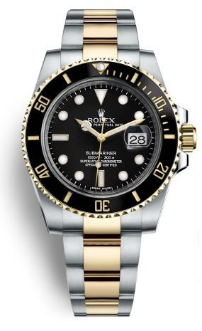 61c9668bd7c Relógio Rolex Submariner Preto Com Dourado E Pulseira Prata - R  509 ...