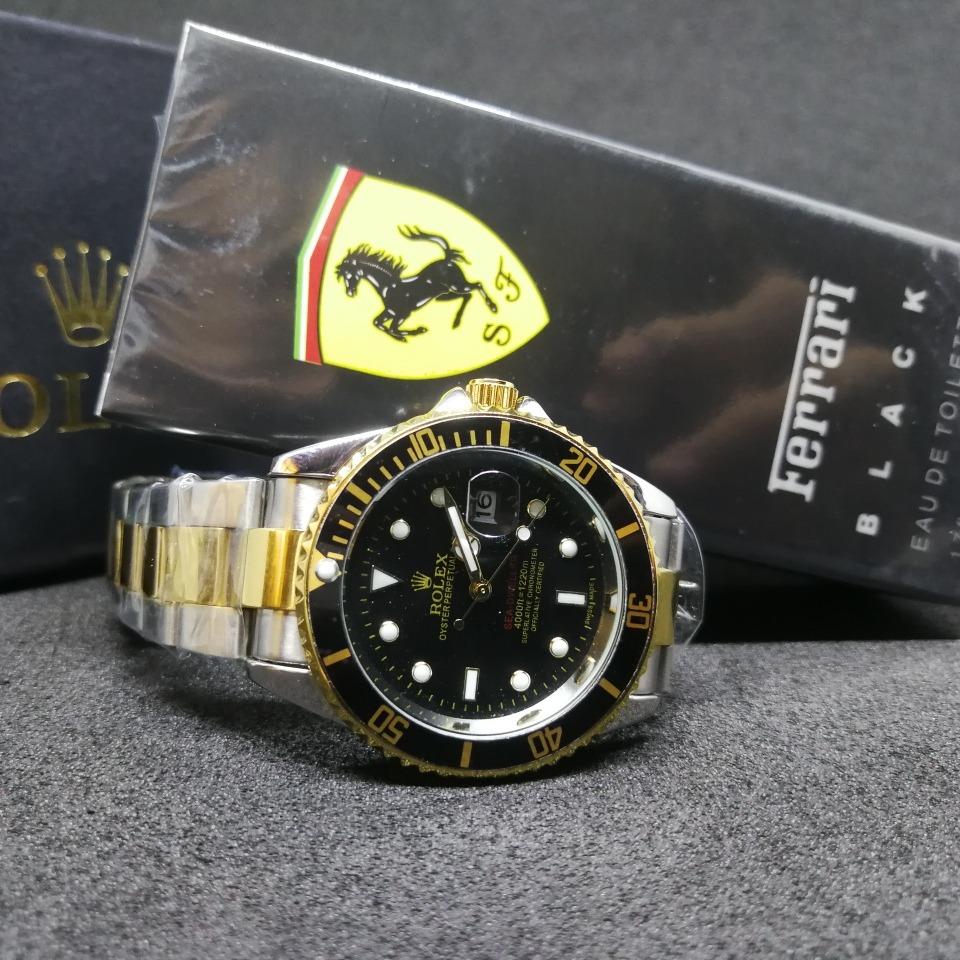 d0ad7ecd291 relógio rolex submariner unisex + perfume ferrari black 50ml. Carregando  zoom.