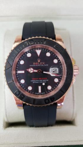 relógio rolex yacht master automático pulseira de borracha
