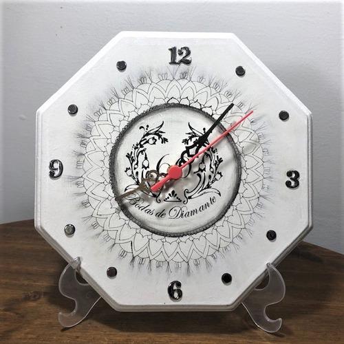 relógio rústico de madeira bodas 60 anos