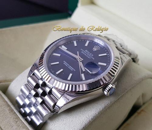 relógio sa3255 - modelo datejust dial azul - eta ref 41mm