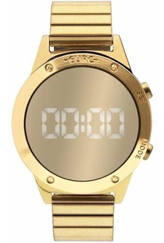 relogio sabrina sato dourado espelhado digital led euro