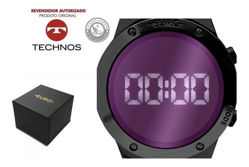 relógio sabrina sato preto espelhado digital led euro aço
