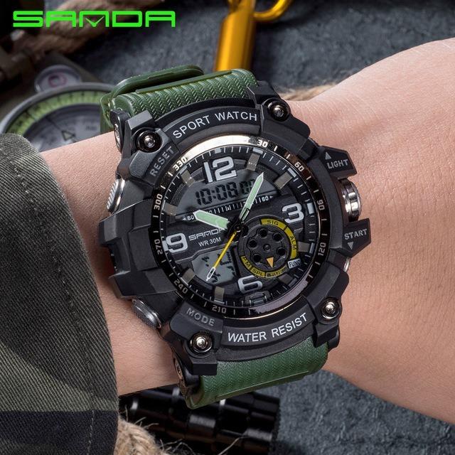 b2c371057ad Relógio Sanda 740 - Army Green - Militar - Estilo Mudmaster - R  100 ...