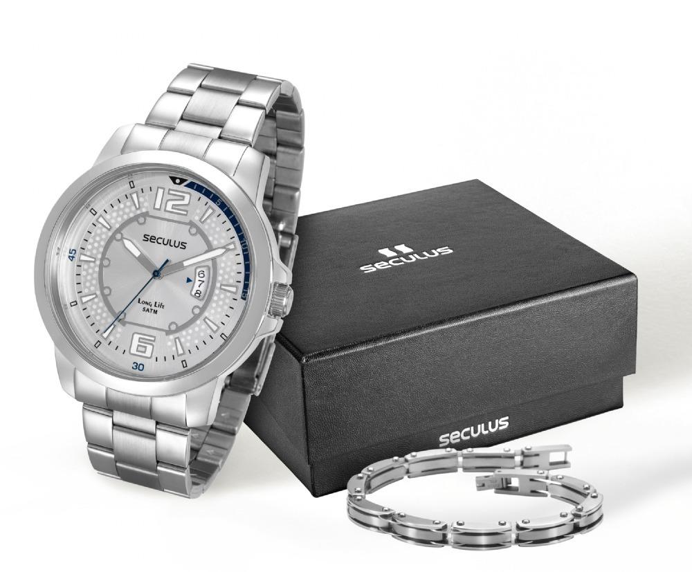 62a5c7667fd relógio seculus com pulseira de aço cromado 28792g0svna1k1. Carregando zoom.
