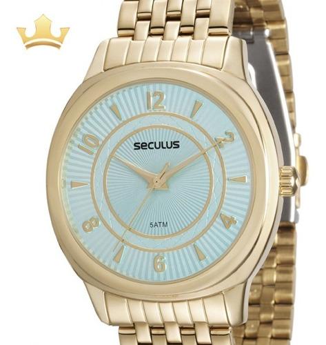 relógio seculus feminino 20505lpsvds1 + brinde caneta crown