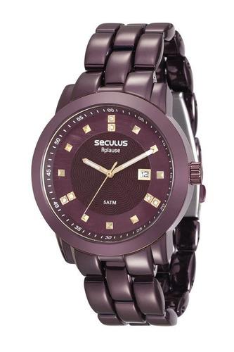 relógio seculus feminino aço vinho 20422lpsvfa5