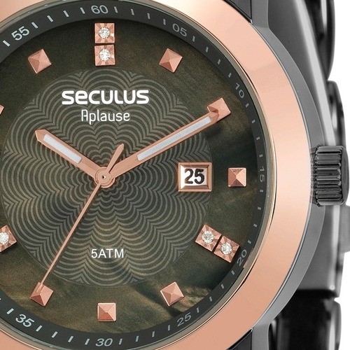 relógio seculus feminino aplause original nota 20422lpsvua6