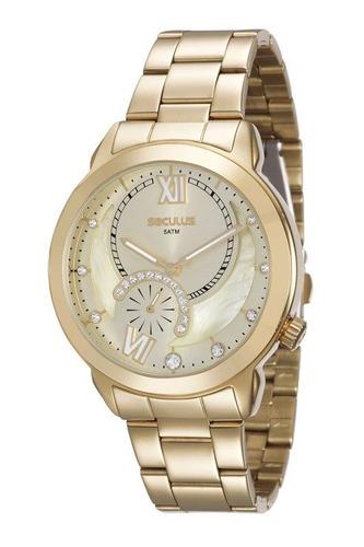 relógio seculus feminino dourado 20416lpsvds1