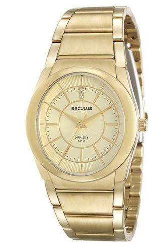 relógio seculus feminino dourado 23535lpsvda1