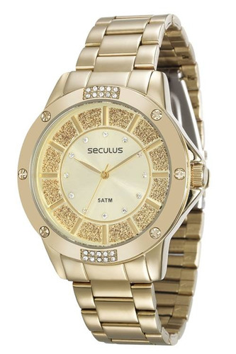 relógio seculus feminino dourado 28734lpsvds1