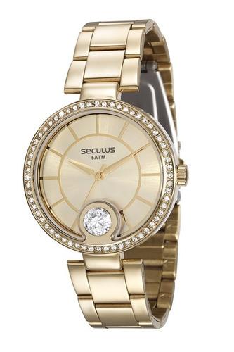 relógio seculus feminino dourado 28830lpsvds1