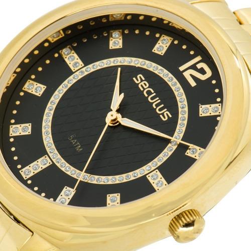 relógio seculus feminino dourado preto original 20566lpsvds1