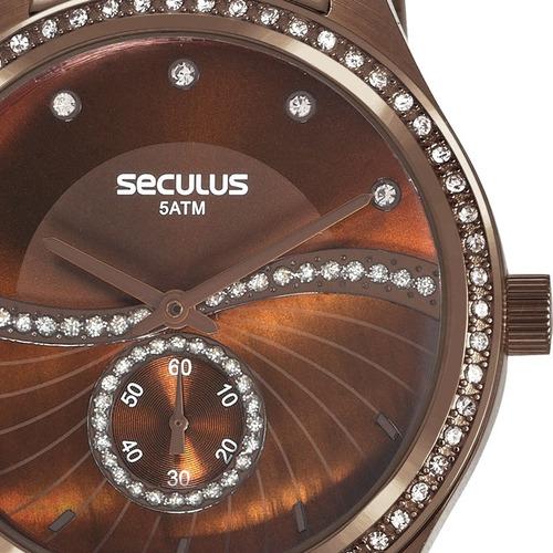 d3b5ac0b57c Relógio Seculus Feminino Marrom Strass Original 20612lpsvms3 - R ...