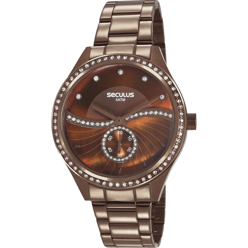 79022a97241 relógio seculus feminino marrom strass original 20612lpsvms3. Carregando  zoom.