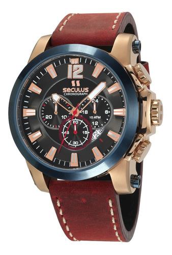 relógio seculus masculino 13027gpsvdc1 rosê  100 metros