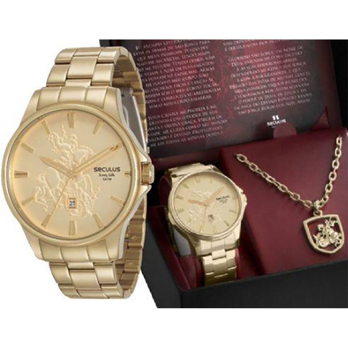 b1232d42632 Relógio Seculus Masculino São Jorge 28933gpskda1k1 - R  380