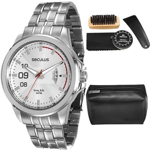8554078b208 Relógio Seculus Masculino Com Kit Para Engraxar 28671g0svna2 - R ...