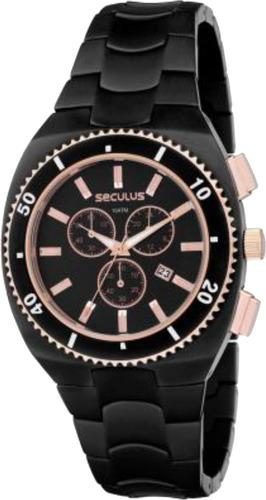 relógio seculus masculino aço preto 20003gpsggq1