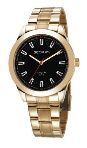 relógio seculus masculino analógico dourado 28978gpsvda3