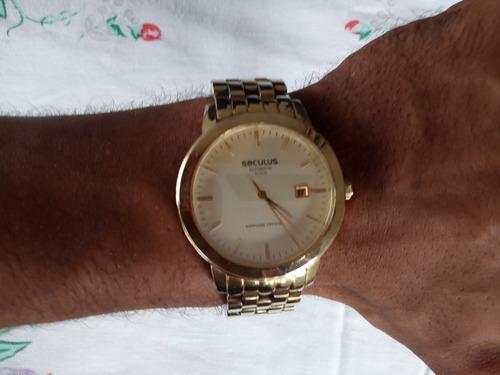 relógio seculus masculino clássico luxo 20008gpsgda1