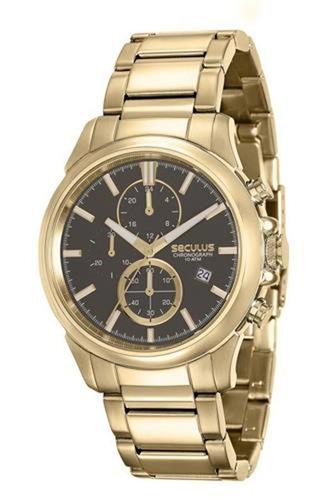 relógio seculus masculino dourado 13023gpsvda1