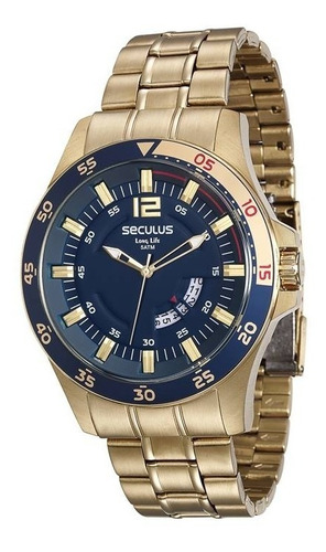relógio seculus masculino dourado 28804gpsvda2