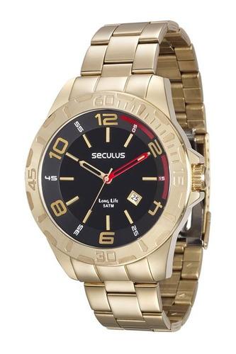 relógio seculus masculino dourado 28805gpsvda2