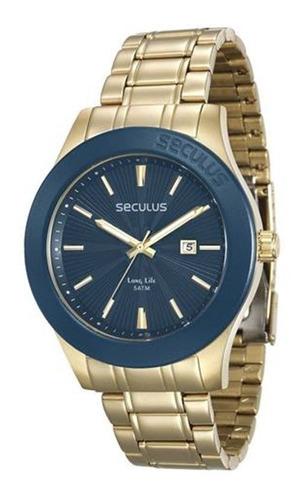 relógio seculus masculino dourado e azul 28743gpsvda1