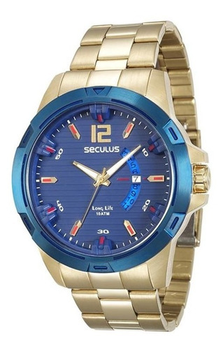 relógio seculus masculino dourado fundo azul 28741gpsvla1