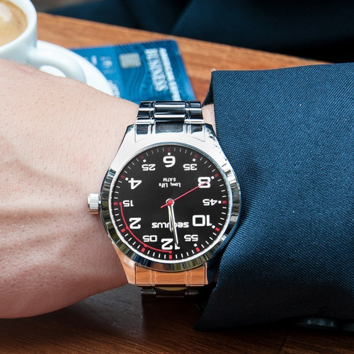 relógio seculus masculino long life 23654g0svna1