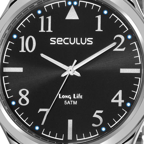 relógio seculus masculino long life original 23640g0svna1