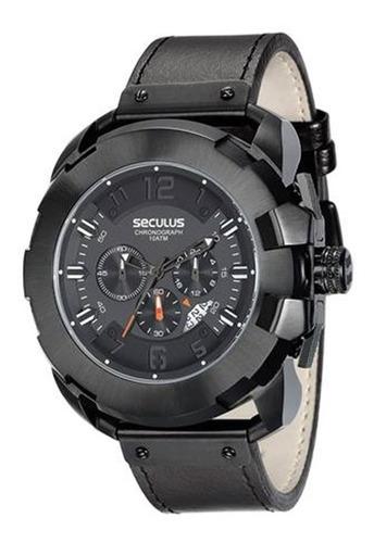relógio seculus masculino preto couro 20467gpsvpc1