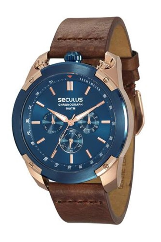 bff4d1a609d Relógio Seculus Masculino Rosé E Azul 28915gpsvvc1 - R  758