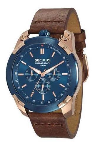 relógio seculus masculino rosé e azul 28915gpsvvc1