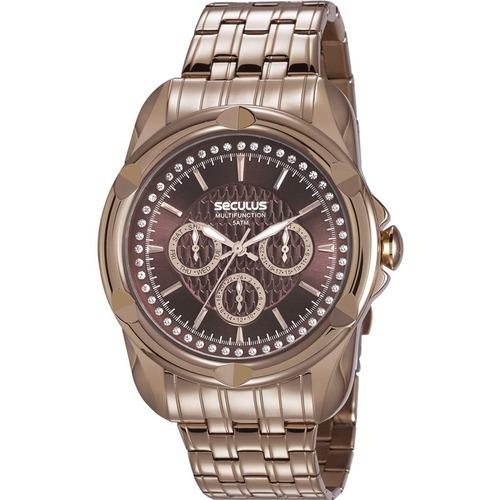 relógio seculus metal marrom strass original 20626lpsvrs2