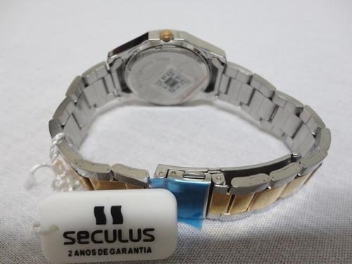 relógio seculus prata com bronze original